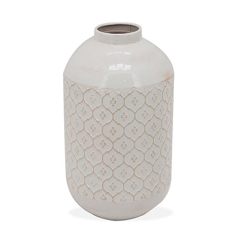 Metal Vase Fleur Pattern White - Small