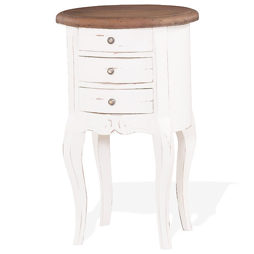 Bramble Drum Shaped Lamp Table - White Harvest with Driftwood Top