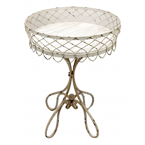 French Iron Side Table Whitewash - Small