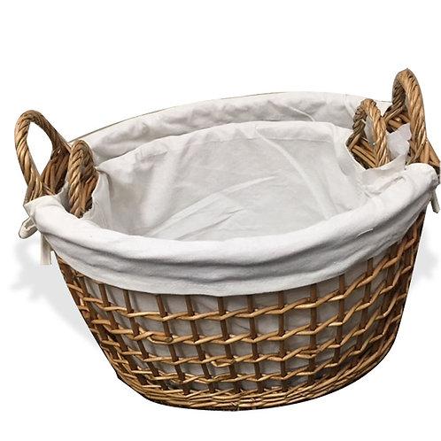 Oval Lined Basket S/2
