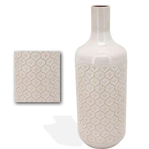 Metal Vase Fleur Pattern White - Large