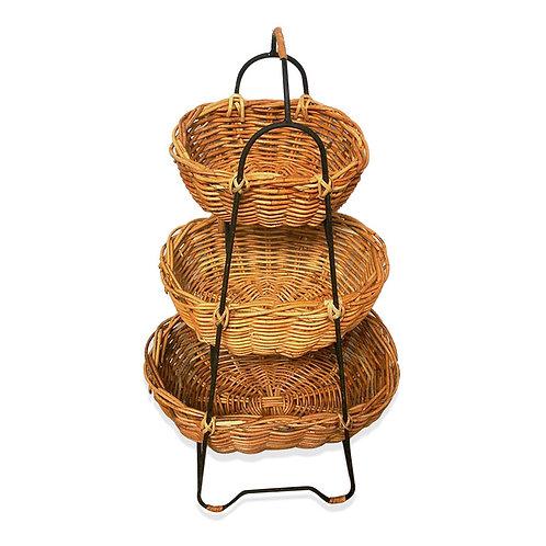 Storage Oval Baskets 3 Tier Small Rattan