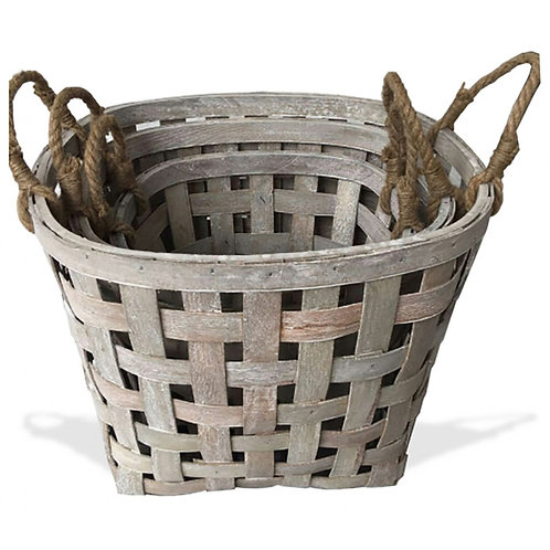 Woodchip Oval Basket Set of 3 - Greywash