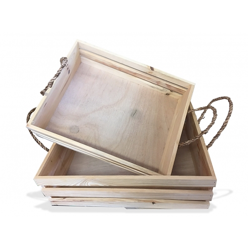 Crate Wooden S/2 with Rope handle - Natural Large