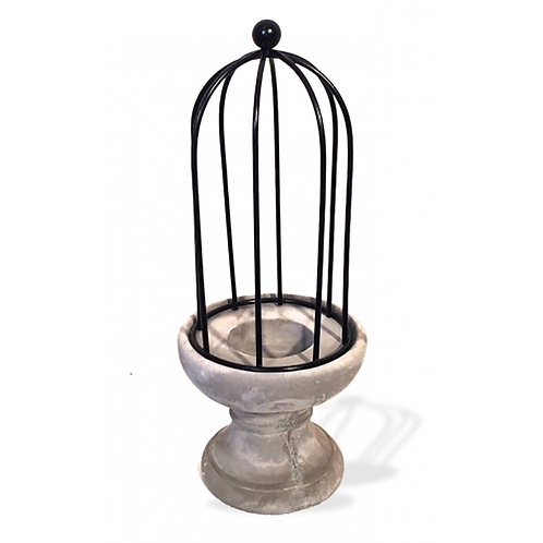 Candle Holder Cement & Iron Small
