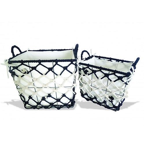 Cotton Rectangle Storage Set of 2 - Natural/Black
