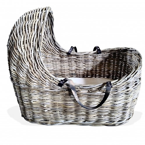 Rattan Carry Bassinet - Kubu Leather Handles with Mattress