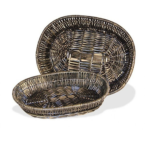 Tray Oval Willow Grey/wash S/2