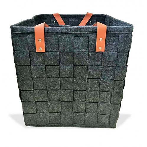 Felt Square Plaited Utility S/3 - Dark Grey