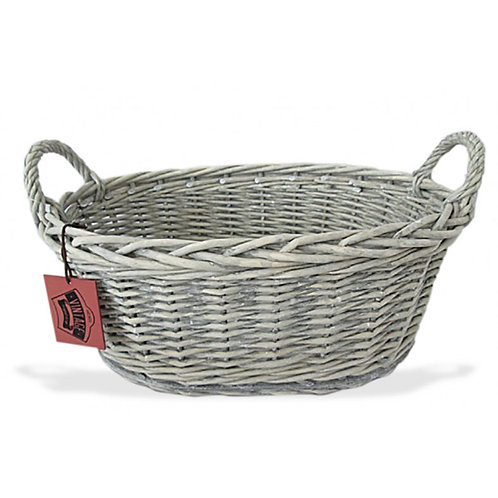 Oval Willow Tray Greywash - Red Tag Large