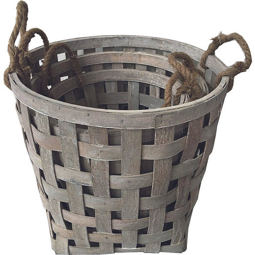 Woodchip Round Basket Set of 3 - Greywash