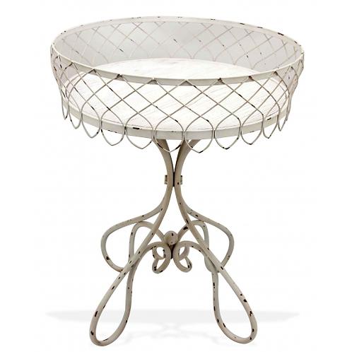 French Iron Side Table Whitewash - Large