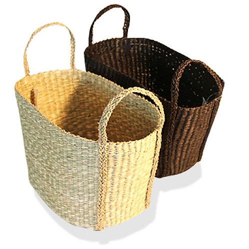 Seagrass Oval Basket - Medium Black
