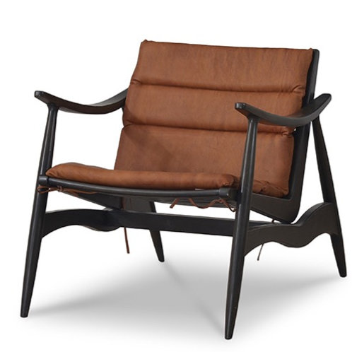 Bramble Pierre Lounge Chair - Buckeye with Leather Cushion