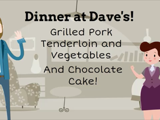 Grilled Pork Tenderloin and Vegetables with Chocolate Cake for Dessert!