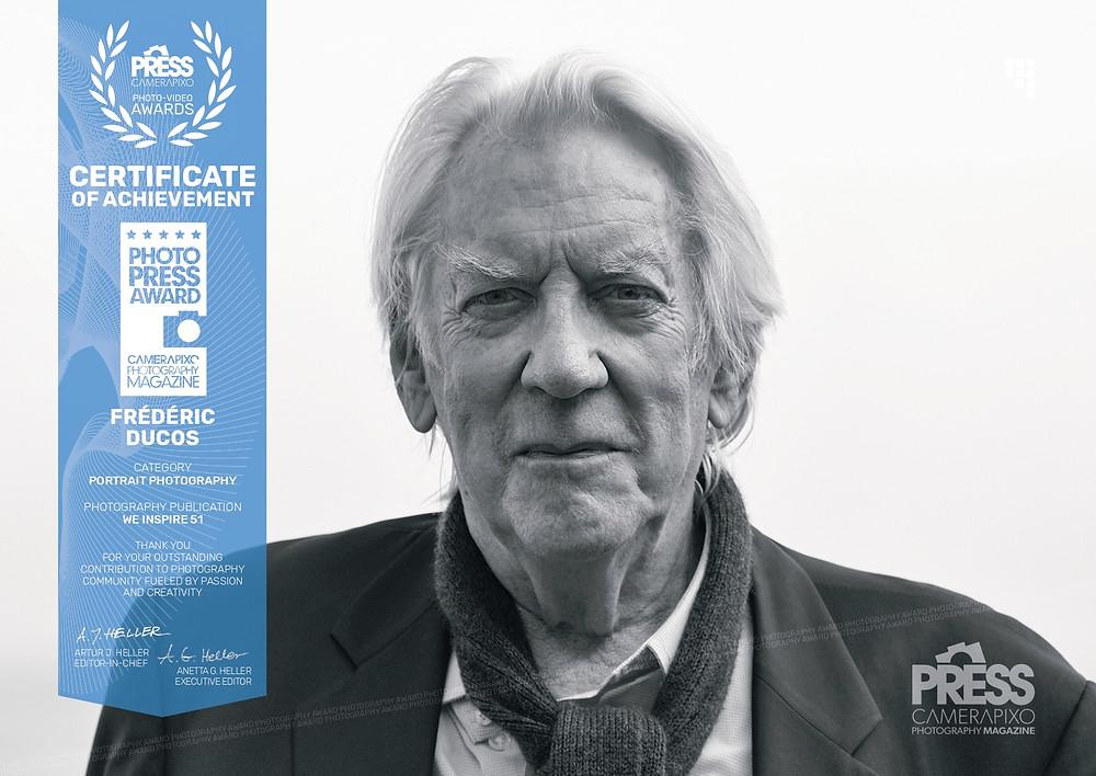 Prix de la photo de presse pour le portrait de l'acteur Donald Sutherland réalisé par Frédéric Ducos