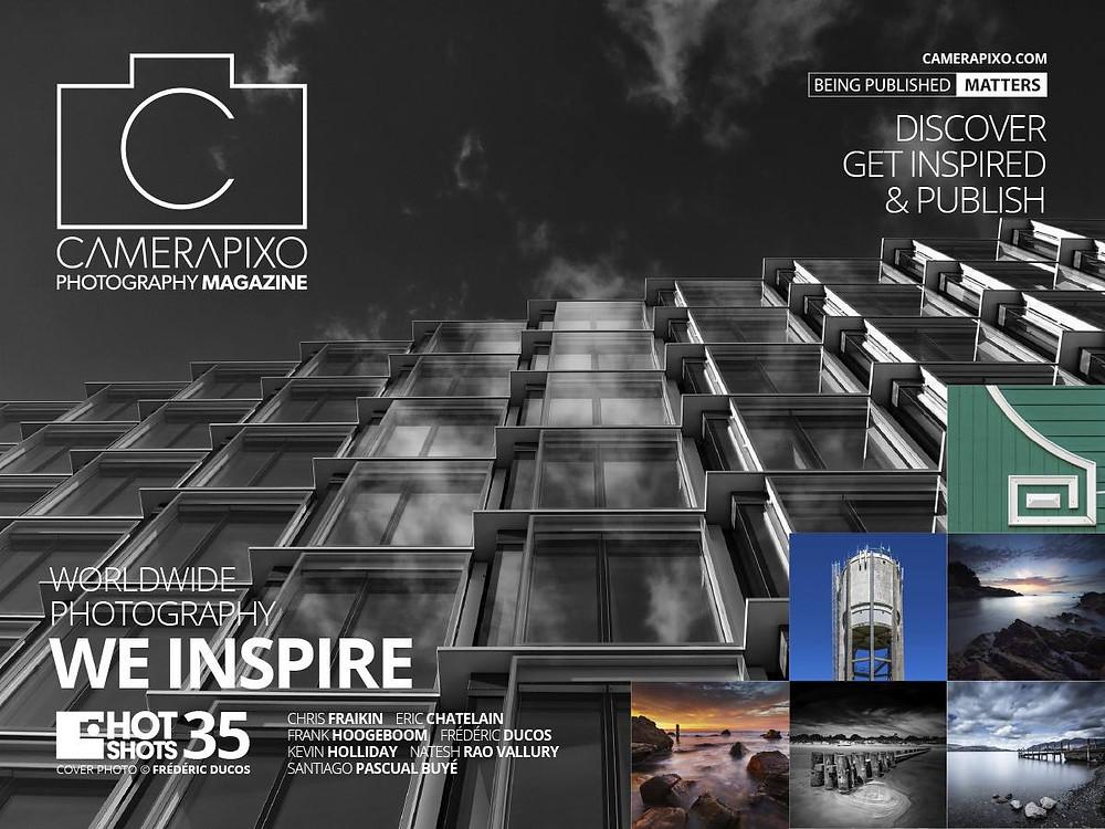 """Ma photographie d'art """"Clouds reflections"""" fait la couverture du magazine Camerapixo."""
