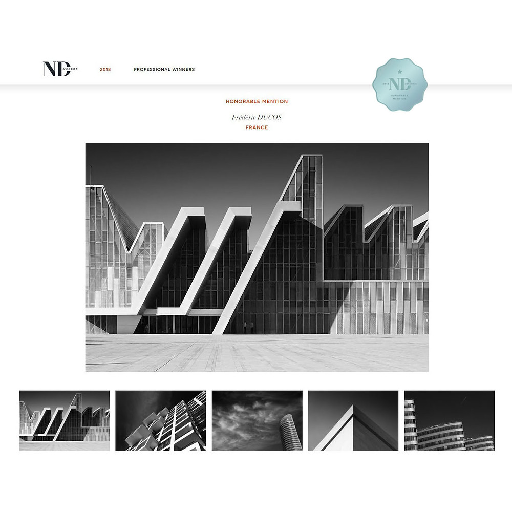"""Honorable mention"" pour ma série ""Modern buildings in black and white"" aux ND Awards 2018"