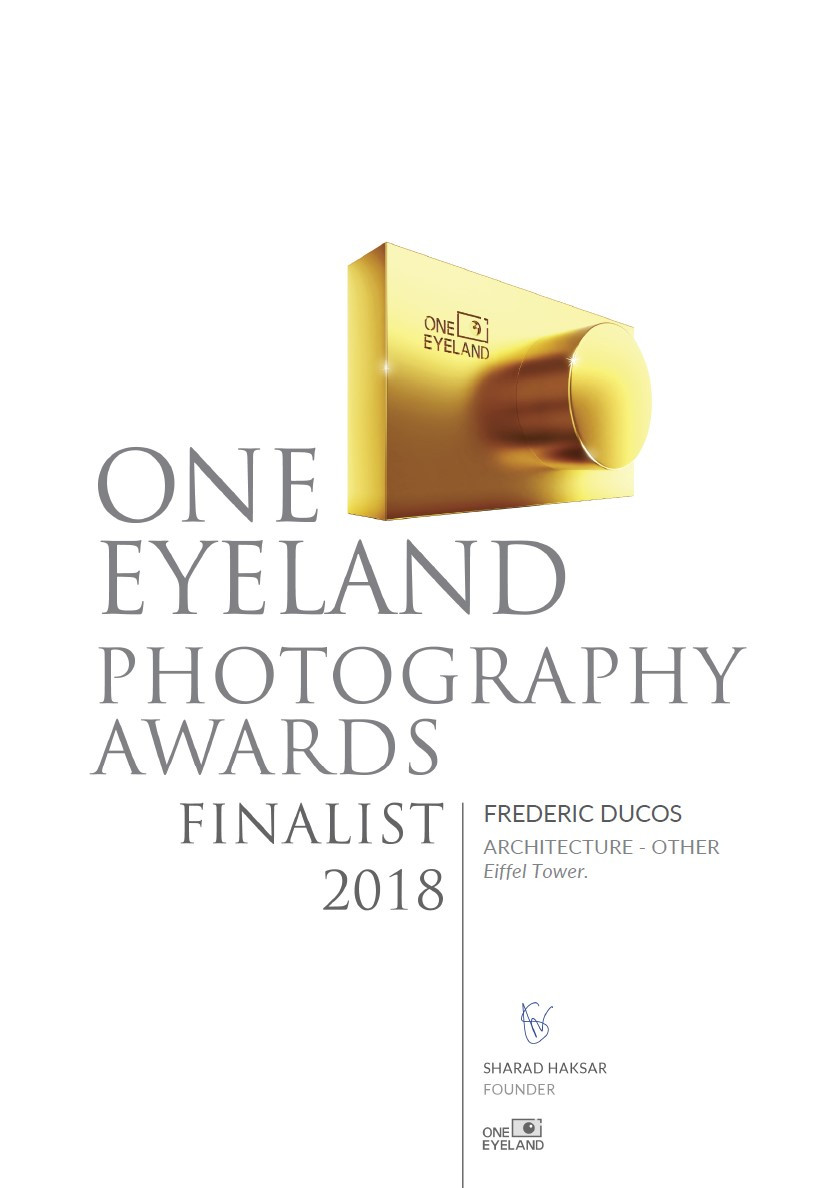 Certificat de finaliste du concours international One eyeland awards 2018