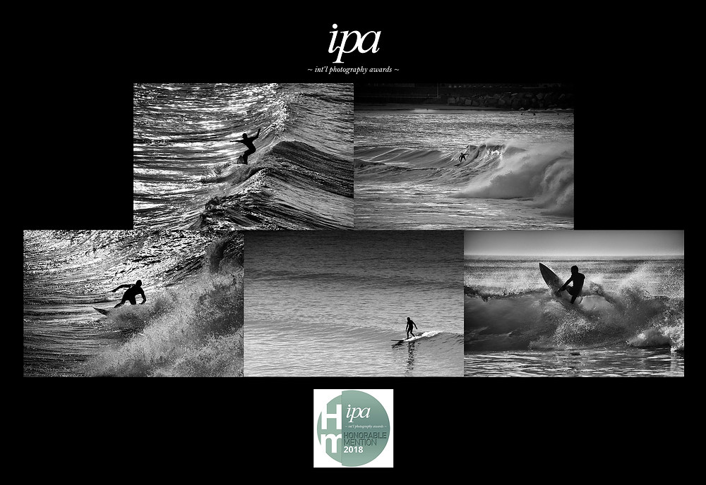 """Honorable mention"" pour ma série ""Surf in black and white"" aux International Photography Awards 2018."