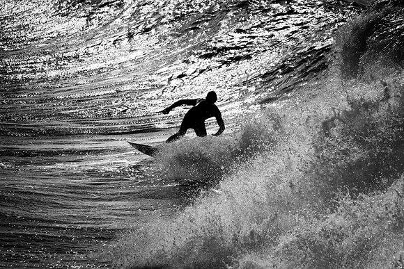 Photographie d'art I Noir et blanc I Surf I Sport I Mer I Plage I Sunset surfing I Frédéric Ducos I Artiste photographe