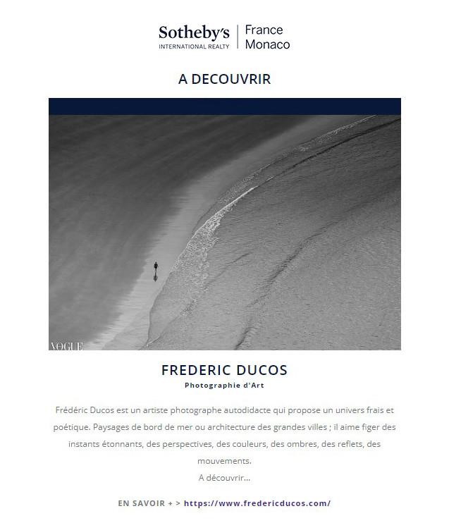Frédéric Ducos artiste photographe sur la newsletter Sotheby's