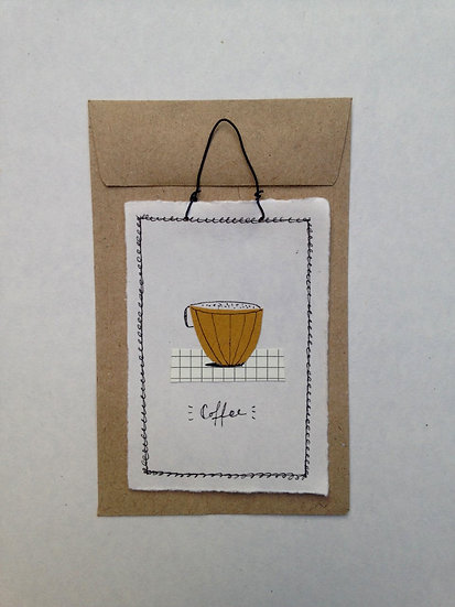 Mustard Coffee Cup - Tiny Paper Tile
