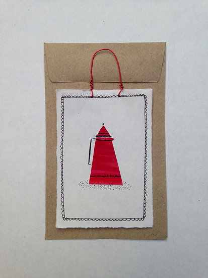 Red Coffee Pot - Tiny Paper Tile