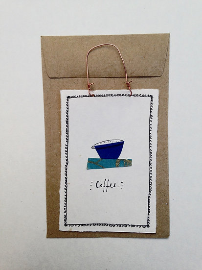 Blue Coffee Cup - Tiny Paper Tile