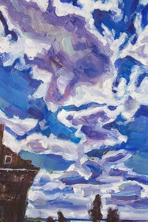 Harderwijk Blue Sky and Clouds, Original Artwork (oil on canvas, 42cm x 24cm)