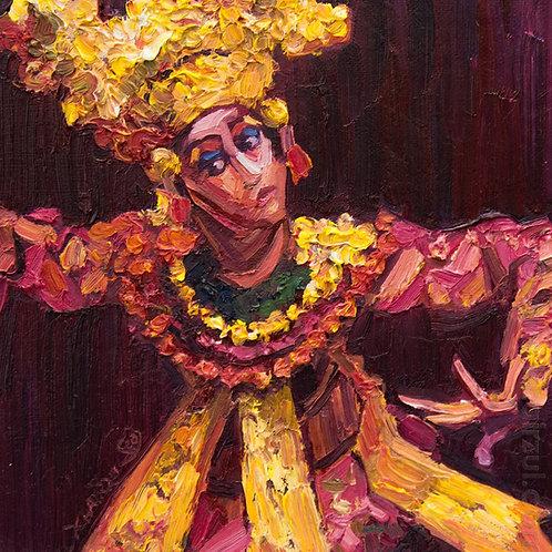 Legong Dancer Red,  Original Artwork (oil on canvas, 25cm x 24cm)