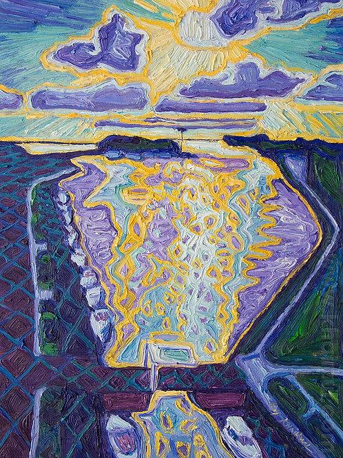 Harderwijk Sun,  Original Artwork (oil on canvas, 41cm x 29cm)