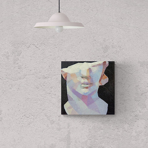 Half A Bust - Sculpture Painting, Original Artwork (oil on canvas, 30cm x 30cm)