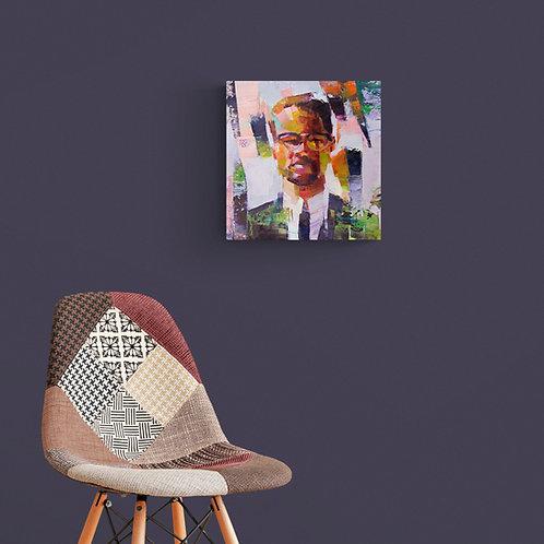 Malcolm X, Original Artwork (oil on canvas, 35cm x 34cm)