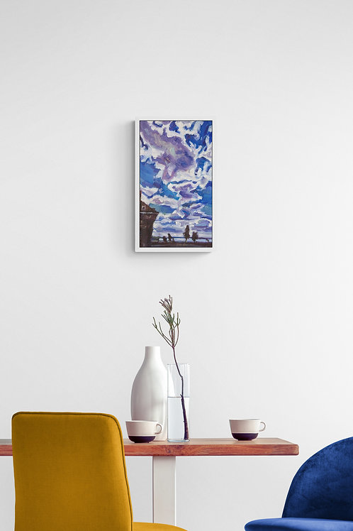 Harderwijk Blue Sky and Clouds, Original Artwork (oil on canvas, 42cm x 24cm)