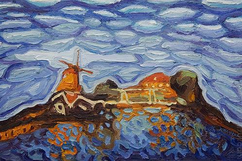 Harderwijk Haven,  Original Artwork (oil on canvas, 37cm x 24cm)