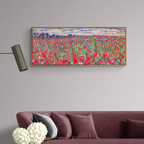 Poppy Field, 2016, Commission Work (oil on canvas, 120cm x 50cm)