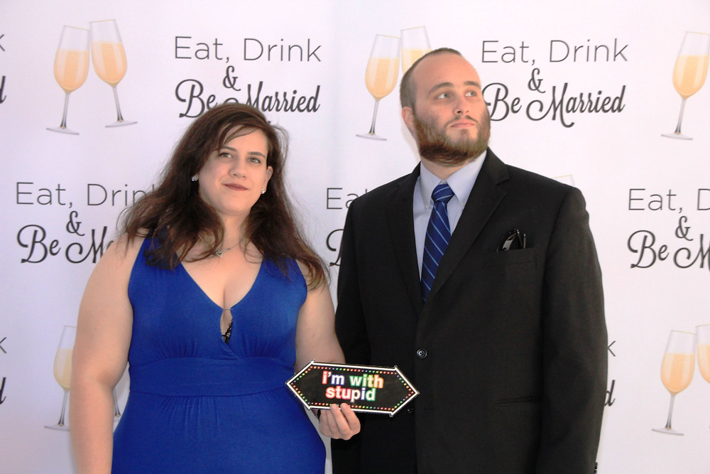 Just us goofing off at a friend's wedding. We try to not take ourselves serious all the time. Just maybe when we talk about how good bacon is!