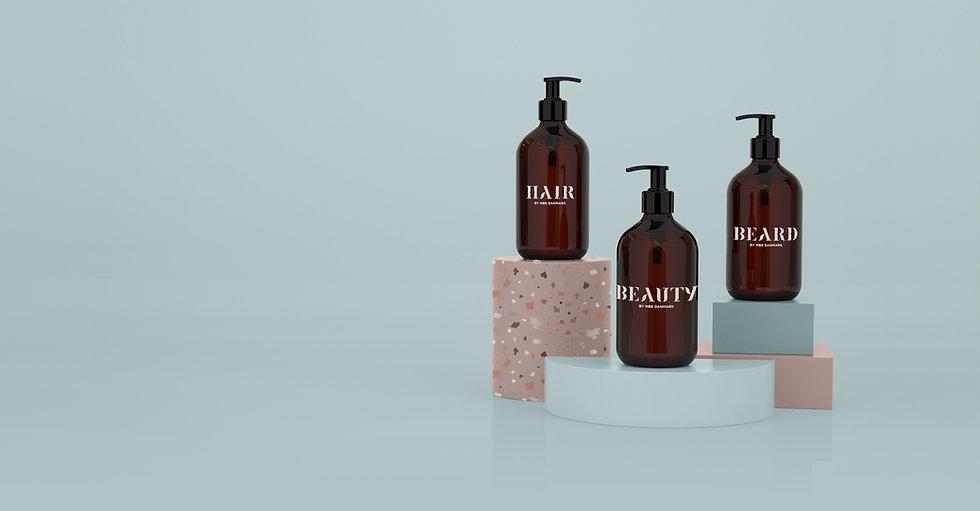 Eksempel på emballagedesign i tråd med Hair by MBS nye visuelle identitet
