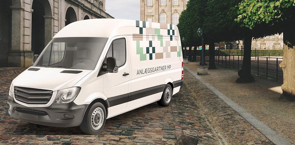Reklame på bil i tråd med Anlægsgartner MPs visuelle identitet
