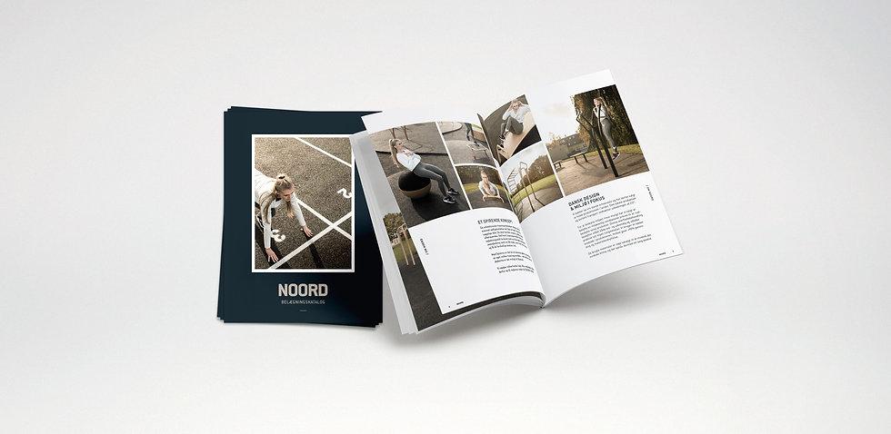 Layout af kataloger i tråd med NOORDs visuelle identitet