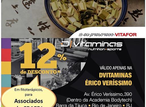 Fitoterápicos? Associado CRAERJ garante desconto na D-Vitaminas Érico Verissímo.