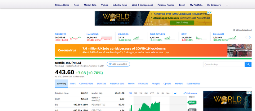 Connect to Yahoo Finance - building a stock market tracker