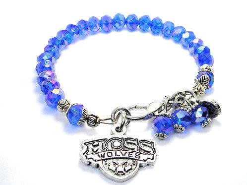 HCSSE Wolves Crystal Blue Bracelet