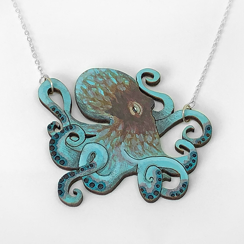 Hand-painted Octopus Necklace - Blue