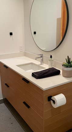 Small Floating Vanity in Maple Finish