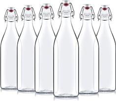 Kit com 6 Garrafas de vidro transparente