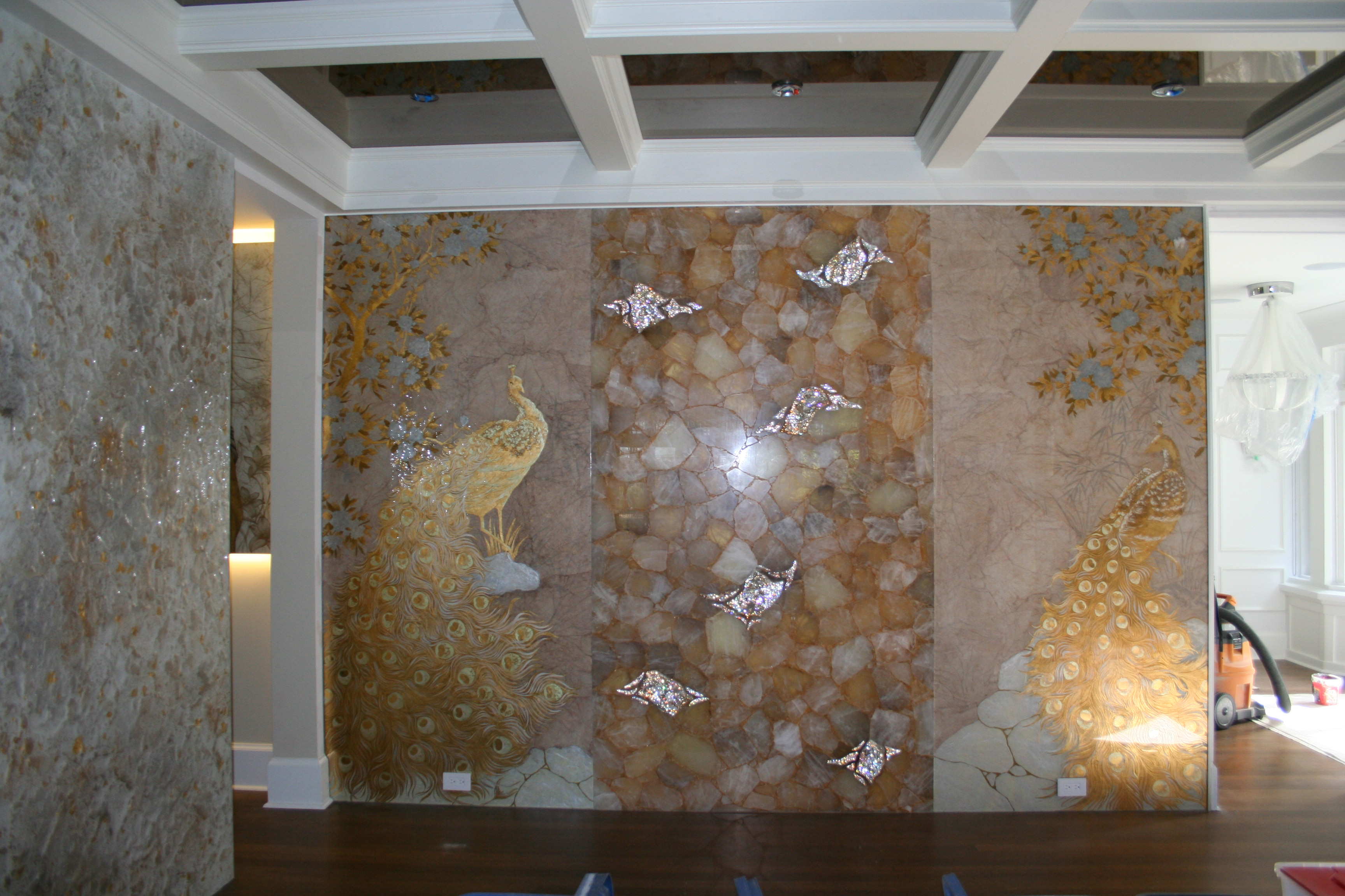 decorative glass - peacocks
