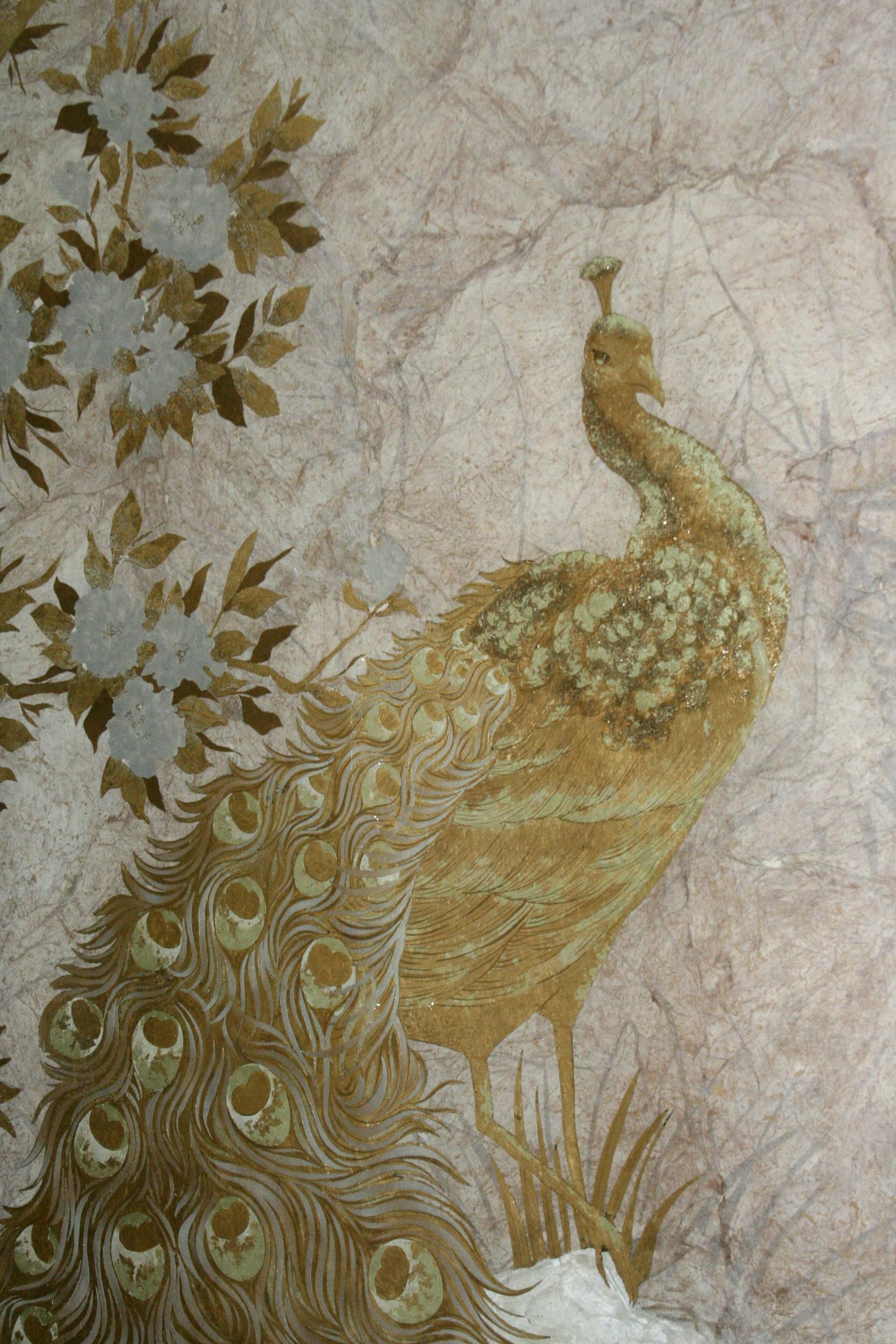 decorative glass - peacock detail