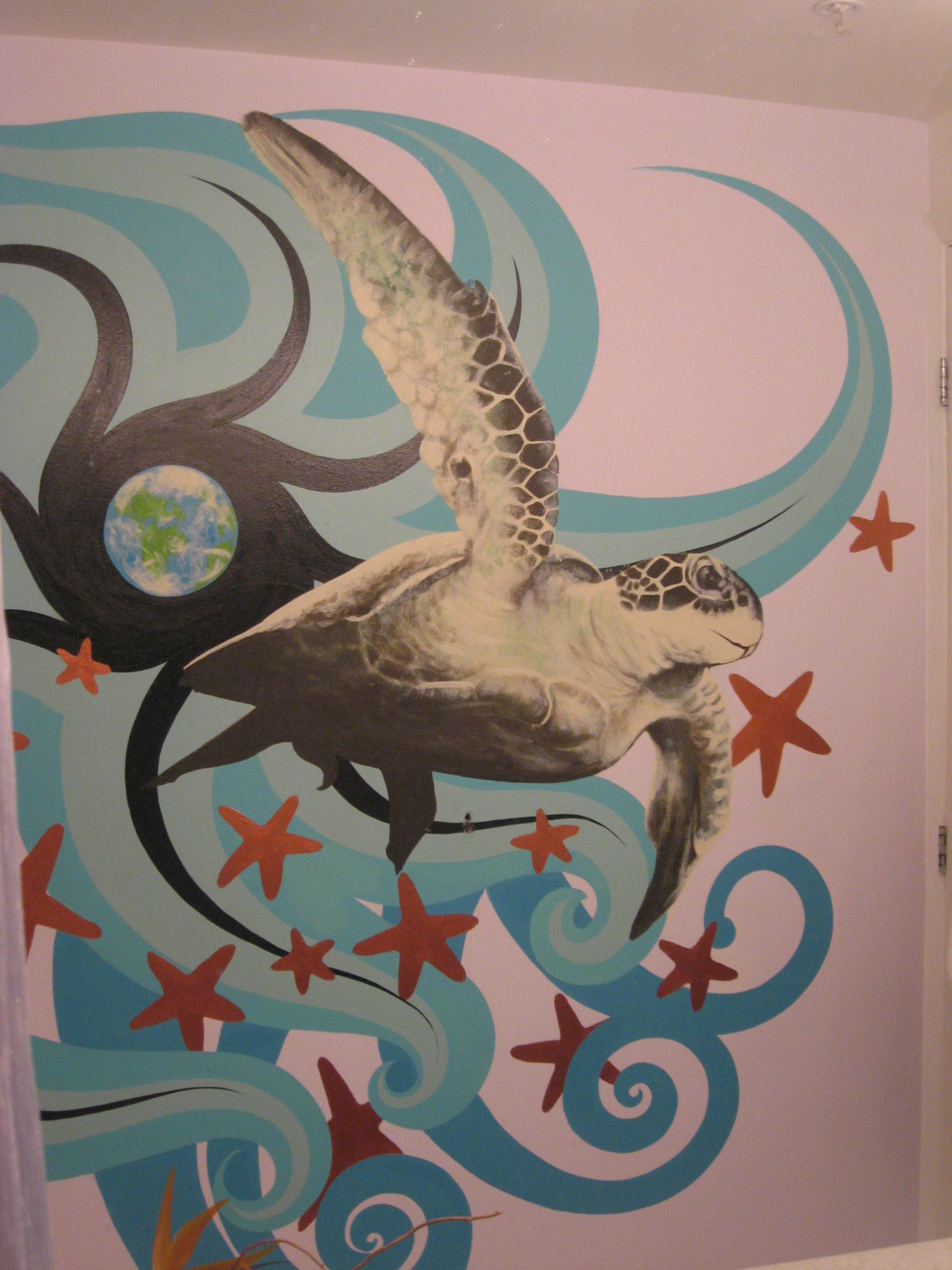 Space Turtle Bathroom Mural